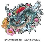 full color asian dragon tattoo  ... | Shutterstock .eps vector #664539337