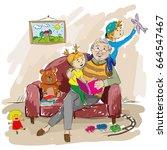 grandfather and grandchildren....   Shutterstock .eps vector #664547467