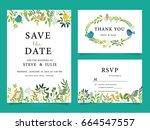 wedding invitation card... | Shutterstock .eps vector #664547557