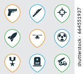 army icons set. collection of... | Shutterstock .eps vector #664551937