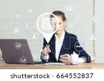 business button qr code network ... | Shutterstock . vector #664552837