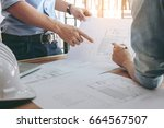 image of engineer or... | Shutterstock . vector #664567507