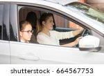 portrait of schoolgirl going... | Shutterstock . vector #664567753