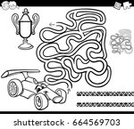 black and white cartoon vector... | Shutterstock .eps vector #664569703