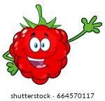 happy raspberry fruit cartoon... | Shutterstock .eps vector #664570117