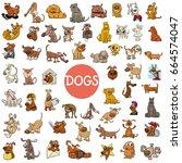 cartoon illustration of dogs... | Shutterstock . vector #664574047
