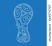 world soccer cup trophy outline ... | Shutterstock .eps vector #664574707