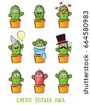 cute cactus cartoon characters...   Shutterstock .eps vector #664580983