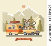 vector travel car with trailer  ... | Shutterstock .eps vector #664584607