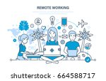 remote working  freelancer ... | Shutterstock .eps vector #664588717
