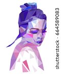low poly fashion girl. beauty... | Shutterstock .eps vector #664589083
