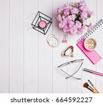 cute feminine accessories and... | Shutterstock . vector #664592227