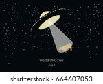 world ufo day vector. vector... | Shutterstock .eps vector #664607053