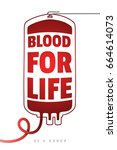 be a donor. blood donation.... | Shutterstock .eps vector #664614073