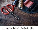 cobbler tools in workshop on... | Shutterstock . vector #664614307