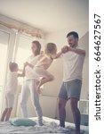 family spending free time at... | Shutterstock . vector #664627567