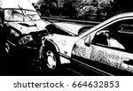 front car accident vector... | Shutterstock .eps vector #664632853