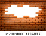 white hole in red brick wall ... | Shutterstock . vector #66463558