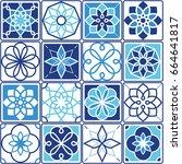 portuguese azulejo tiles design ... | Shutterstock .eps vector #664641817