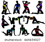 set of silhouettes of pinup... | Shutterstock .eps vector #664654027