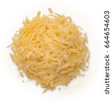 heap of grated cheese isolated... | Shutterstock . vector #664654603