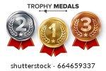 gold  silver  bronze medals set ... | Shutterstock .eps vector #664659337