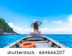 traveler woman in bikini... | Shutterstock . vector #664666207