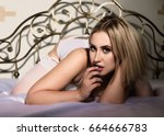 sexy blonde girl in lace...   Shutterstock . vector #664666783