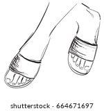 foot sketch in vector. hand... | Shutterstock .eps vector #664671697