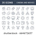 set of line icons  sign and... | Shutterstock . vector #664672657