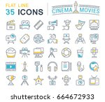 set line icons  sign and... | Shutterstock . vector #664672933