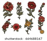 Stock vector vintage roses set 664688167