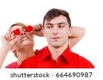 couple. serious boyfriend and... | Shutterstock . vector #664690987