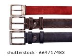 several fashionable male belts... | Shutterstock . vector #664717483