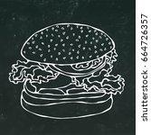 big burger   hamburger or... | Shutterstock .eps vector #664726357