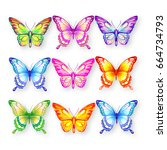 beautiful color butterflies set ... | Shutterstock . vector #664734793