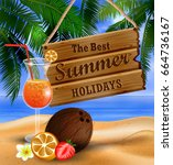 summer wooden sign on tropical... | Shutterstock .eps vector #664736167