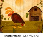 pet animal hen with chicks on... | Shutterstock .eps vector #664742473