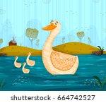 pet bird duck floating on river ...   Shutterstock .eps vector #664742527