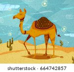 pet animal camel on desert... | Shutterstock .eps vector #664742857
