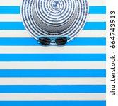 striped hat and sunglasses on... | Shutterstock . vector #664743913
