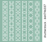 vector set of line borders with ... | Shutterstock .eps vector #664746337