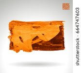 orange brush stroke and texture.... | Shutterstock .eps vector #664747603