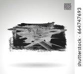 grey brush stroke and texture.... | Shutterstock .eps vector #664747693