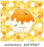 honey package design. label on... | Shutterstock .eps vector #664749007