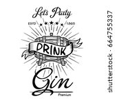 gin label vintage hand drawn... | Shutterstock . vector #664755337