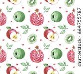 watercolor hand drawing fruits... | Shutterstock . vector #664755787