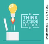 think outside the box with text.... | Shutterstock .eps vector #664756153