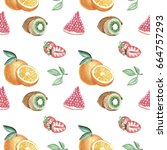 watercolor hand drawing fruits... | Shutterstock . vector #664757293
