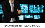 business concept cctv  blurred... | Shutterstock . vector #664759723